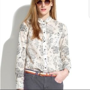 Madewell Button Down Map Blouse Size XS